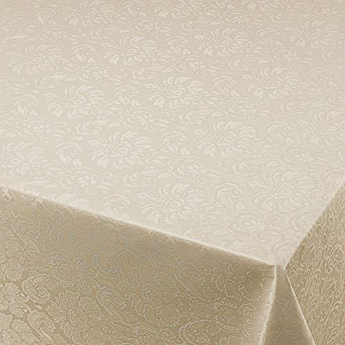 Wachstuch Wachstischdecke Gartentischdecke Tischdecke Blumen Relief Creme Beige Geprägt Breite & Länge wählbar 100 x 210 cm abwaschbar