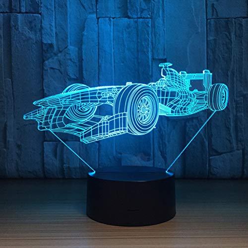 Limhua Racing Auto 3D Led Lamp Afstandsbediening Touch Sensor 3D Nachtlampje Voor Sport Fans Beste Gift 7 Kleur Veranderende Verlichting Lamp Touch Switch