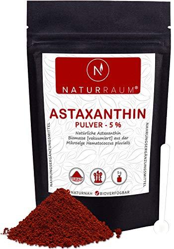 NaturRaum Astaxanthin Pulver hochdosiert I 5 g Natürliche Biomasse mit 250 mg I Vakuumiert I Dosierhilfe zum dosieren von 4, 8, 12 oder 18 mg I Premium aus Europa I ohne Zusatzstoffe I Vegan