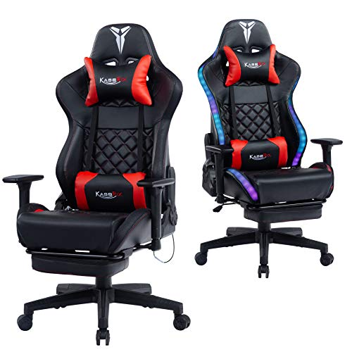 Kasorix Gaming Chair-8526Red RGB Armchair Breathable Leather Gaming Chair