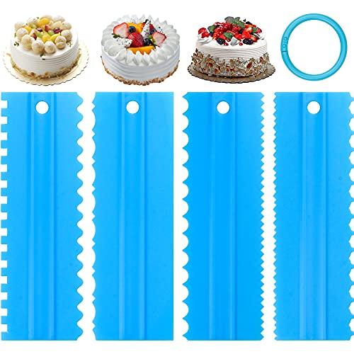 CAPRICIOUS 4 Pz Raschietto per Torte Smoother Cream Raschietto Cake Edge Decor Comb Pettine Spatole di Drema al Burro Fondente Strumenti per Torta Fai da Te Tagliapasta Attrezzo da Cucina