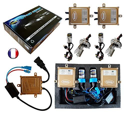 VEGA Kit HID Xénon Marque Francaise H4HI 12000K 55W Slim DSP AC Ampoules à embase métallique