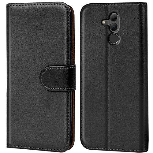 Verco Mate 20 Lite Hülle, Handyhülle für Huawei Mate 20 Lite Tasche PU Leder Flip Hülle Brieftasche - Schwarz