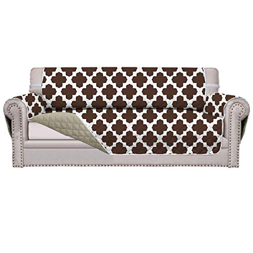 Easy-Going Sofa Slipcover Reversible Sofa Cover Furniture Protector Anti-Slip Foam Printing Couch Cover Water Resistant Elastic Straps PetsKidsChildrenDog(Sofa,Chocolate Four-Leaf Clover/Beige)