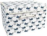 A-Generic Caja de Almacenamiento Cesta de Almacenamiento de Tela de algodón con Mango Plegable contenedor Tejido de lavandería - 28x28x28 Árbol-38x25x25cm_Ballena_
