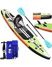 Tabla Hinchable Paddle Surf Sup Paddel Surf Bomba, Asiento de Kayak, 330 x 76 x 15 cm, Hasta 130 kg, Almohadilla integrada, Aleta Desprendible, Doble remo ajustable, Kit de Reparación