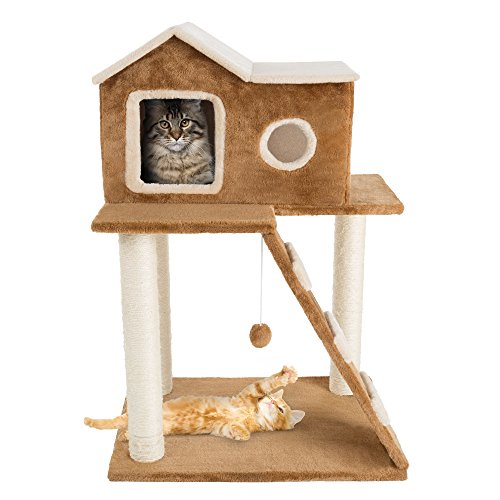 3 Tier Cat Tree- Plush Multilevel Cat Tower with Scratching...