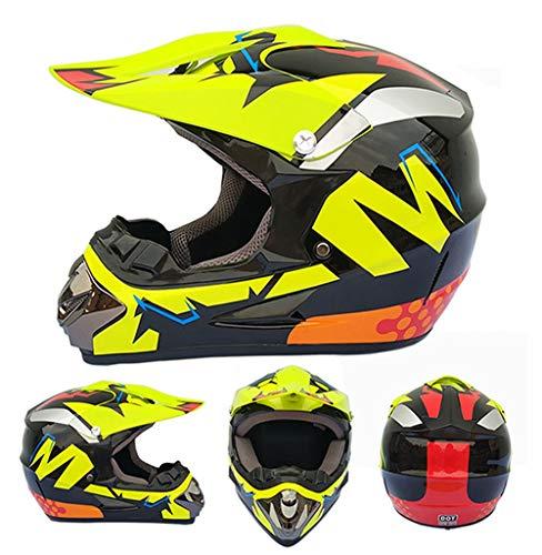 CXLL Casco completo para motocicleta, BMX ATV Downhill Scooter para adultos, casco de motocross con gafas/máscaras/guantes/red para casco (negro brillante, amarillo)