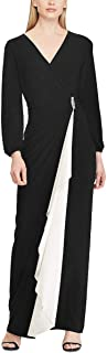 RALPH LAUREN Womens Black Brooch Jersey Gown Long Sleeve V Neck Maxi Evening Dress US Size: 4