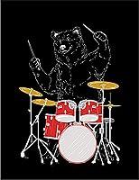 【ドラム クマ】 余白部分にオリジナルメッセージお入れします!ポストカード・はがき(黒背景)