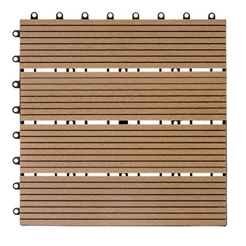 WPC hout kunststof tegels terrastegels kliktegels balkontegels 1 stuk 30 x 30 cm Standard naturel