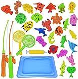 Abree Juego de Pesca Magnética(26 Peces) - Juguete Educativo&Interactivo de Pesca con Caña - Juguetes de Piscina & Bañera para Niños - Juego Acción&Juguete Reflejo para Bebé/Niños (2 - 5 años)