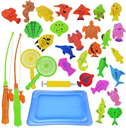Canne da Pesca Giocattolo, Abree 30 pezzi Fishing Game,Magnetico Giocattolo da bagno canne da pesca giocattolo Gioco di pesca Grande regalo per i bambini