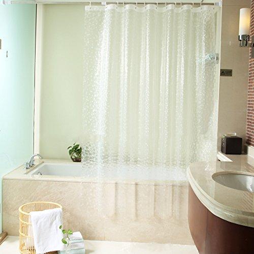 ShowPower Nr.1018 Duschvorhang 3D Kieselsteine, Eva Wasserdicht, Halb-transparent Klar, Anti Schimmel, 300 x200cm mit Frei 12 Ringe, Bad Vorhang für Badezimmer