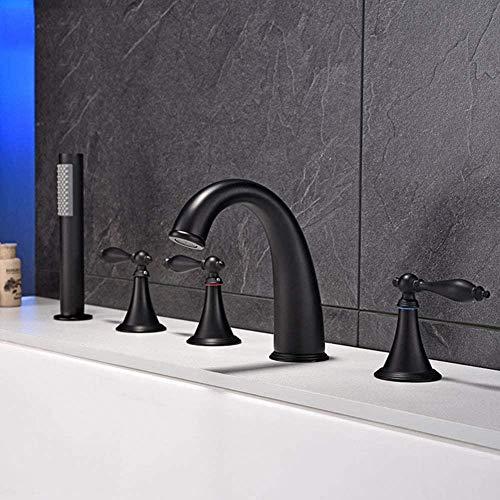 5 agujeros 3 manija bañera grifo moderno montaje en cubierta baño bañera mezclador faucet matte whirlpool full of portable
