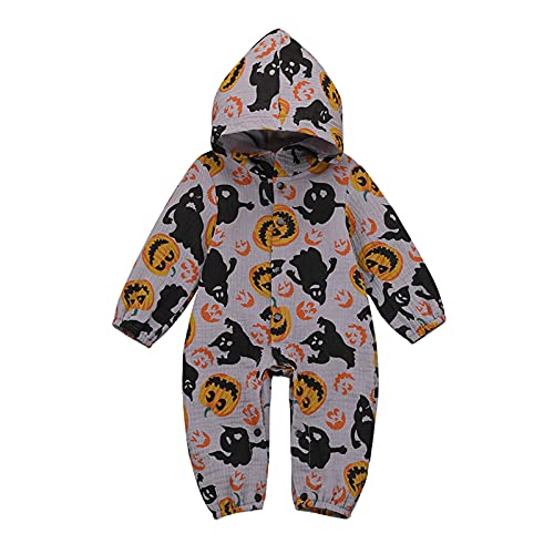 Newborn Toddler Baby Hooded Romper Boy Girl Halloween Clothes Pumpkin Jumpsuit Bodysuit One-Piece Playsuit Outfit