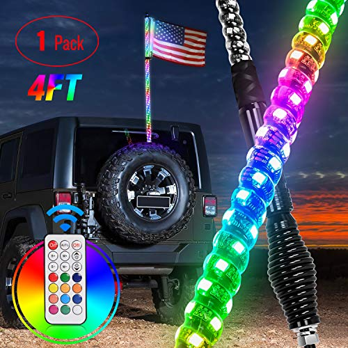 Nilight 1PC 4FT Spiral RGB Led Whip Light with Spring Base Chasing Light RF Remote Control Lighted Antenna Whips for Can-Am ATV UTV RZR Polaris Dune Buggy Offroad Truck, 2 Years Warranty
