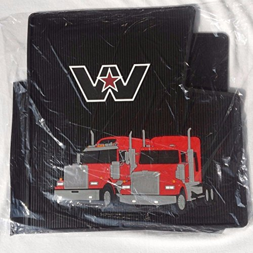Western Star Truck OEM Black Rubber Floor Mats W/Logo - Fits 4900 & Most Constellation