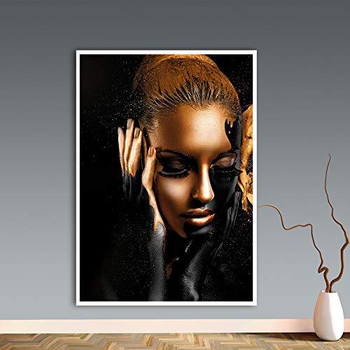 HGlSG Zwart Goud Afrikaanse Kunst Vrouw Olieverfschilderij Cuadros Posters en Prints Scandinavische Muur Foto Woonkamer Bank Cuadros A3 60x90cm