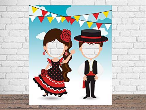 Photocall en Cartón Trajes de Flamencos 150x185cm   Photocall Trajes de Flamencos   Photocall Económico y Original   Photocall Troquelado