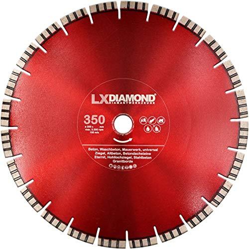 LXDIAMOND 350mm x 30,0mm Premium Diamant-Trennscheibe Geräuscharm Leise Flüsterblatt für Beton, Stahlbeton, Mauerwerk, Universal 350 mm