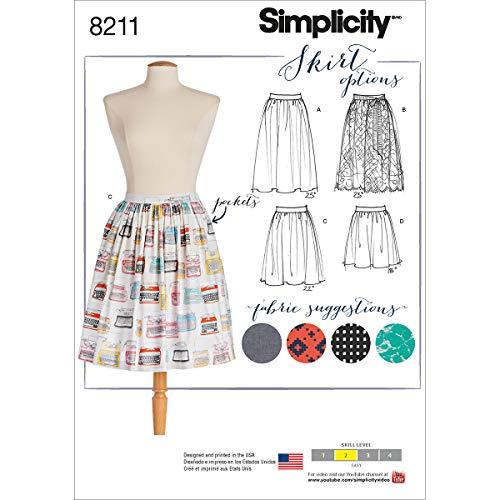 Simplicity Muster 8211Schnittmuster Dirndl Röcke in DREI Längen, weiß