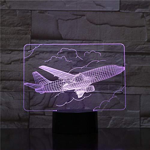 Lâmpada de ilusão 3D Anime 3D Light Air Plane Modelo criativo Night Light Plane Luminária de mesa LED Ilusão Holograma 7 cores Memorial Light -0643