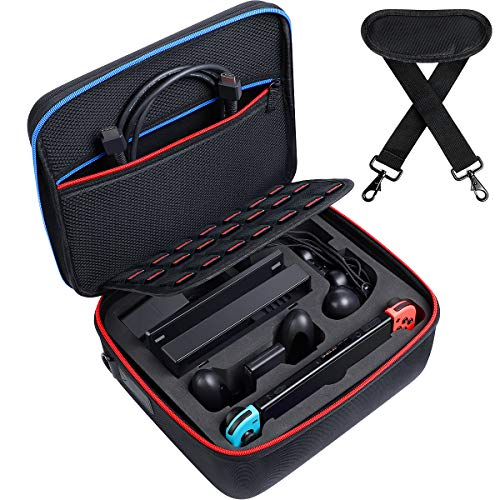 Kootek Carry Case for Nintendo Switch, Hard Shell Travel Cases with 21 Games Storage Slots & Shoulder Strap Storage for Switch Console, Pro Controller, Switch Dock, AC Adapter Cable & Accessories