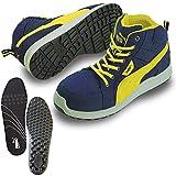 [プーマ] 安全靴 作業靴 ライダー ブルー ミッド 25.0cm 中敷き インソール付セット 63.351.0&20.450.0
