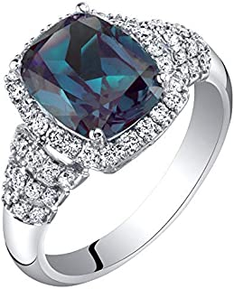 14K White Gold Created Alexandrite and Lab Grown Diamond Ring 4.04 carats total Cushion Cut