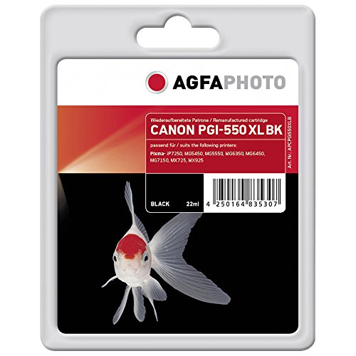 AgfaPhoto APCPGI550XLB PGI-550 XL PGBK Druckerpatrone für Canon, schwarz