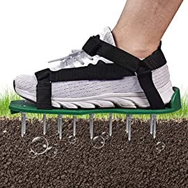 BOBUEXER Lawn Aerator Shoes with Hook & Loop Straps, One-Size-Fits-All Heavy Duty Spiked Aerating Sandals Soil Aeration… 1 【PROFESSIONAL LAWN AERATION SHOES】The Lawn Aerator Shoes help to achieve lawn aeration effectively and no need to invest in complex equipment or huge cost to maintain a good lawn. The simple and convenient loose soil shoes aerate soil to ensure that air & water reach the roots easily! 【ALL NEW DESIGN WITH Hook & Loop Straps】Be tired of 3 or 4 or 5 straps and buckles? All new designed aerator shoes with hook and loop fasteners, you can take them on and off in a snap, super convenient and stable, getting an aerated, healthy lawn has never been easier! 【DURABLE & STURDY CONSTRUCTION】This pair of aerating sandals is sturdy plastic base along with 26 heavy-duty metal spikes that penetrate through your soil effortlessly allowing you to aerate even the toughest soil in a couple of steps without feeling any irritation or discomfort.