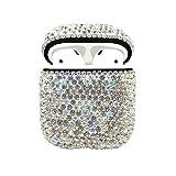 Caso AirPods strass, diamanti bling protezione AirPods lusso Charging Case Cover protettiva per Apple I10 / I12 TWS (Silver Diamond)