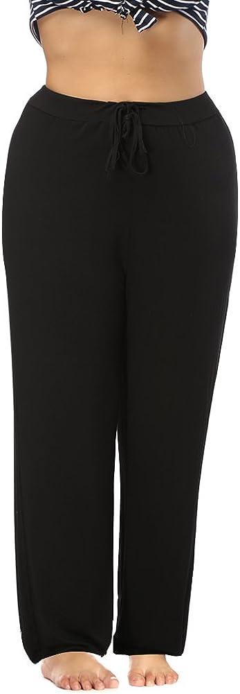 ALLEGRACE Women's Plus Size Comfy Stretch Long Pajama Pants Drawstring Sleep Lounge Pants