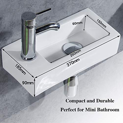 Gimify Bathroom Corner Sink Wall Hung Basin Rectangular Wall Mounted Small Cloakroom Sink Ceramic Modern in White - Faucet & No Overflow Drain Included