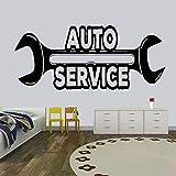 Ajcwhml Llave de Vinilo Etiqueta de la Pared Calcomanía de reparación de automóviles Reparación de neumáticos Etiqueta de la Pared de Lavado de Autos Etiqueta Impermeable para Ventana Deco-54X24CM
