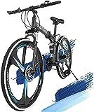 CAZQ 26In Mountain Bike,Magnesium Wheels Folding Mountain Bike Shimanos 21 Speed Bicycle Full Suspension MTB Bikes,Disc Brakes EF500 37 Shifter for Men Women,Adult Student Bicycle,Black