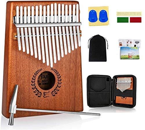 Kalimba Thumb Piano 17 Keys, Portable Mbira Finger Piano w Protective Case, Fast to Learn Songbook, Tuning Hammer, All in One Kit (17keys, Mahogany)
