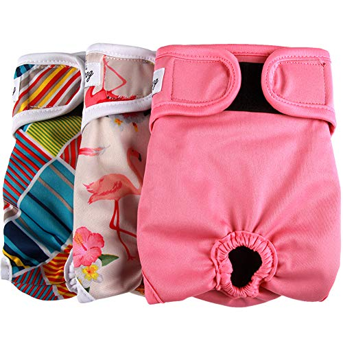 JoyDaog Dog Diapers for Female Small Dogs,3 Pack Reusable Premium Puppy Belly Wrap XS