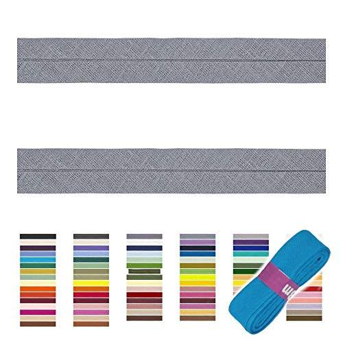 Sandras Bastelladen Schrägband/Einfassband Baumwolle Uni gefalzt 3m x 20mm 004-Grau