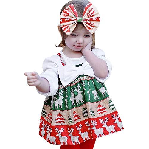JERFER JERFER Ärmellos Karikatur Drucken Kleid Kleinkind Kinder Baby Mädchen Weihnachten Kleid Kleider