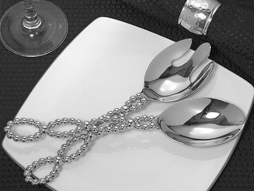 Signature Collection By Cassiani Chrome Salad Server Set With Beaded D C6217 Quantity of 1