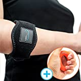 (2 Pack) Tennis Elbow Brace, by Witkeen Tennis Elbow Brace with Compression Pad, Adjustable Elbow Strap Neoprene, Hand Grip and E-Guide Bonus