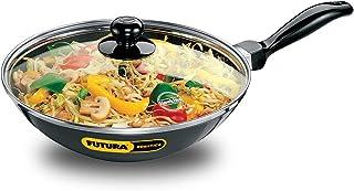 Futura Non-Stick Deep-Fry Pan(Kadhai) 2.0 Litre with Glass Lid and Flat Bottom