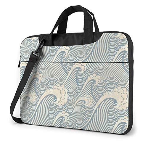 Ilustración Japonesa Ocean Decor Laptop Bag Messenger Bag Maletín Satchel Shoulder Crossbody Sling Bolsa de Trabajo