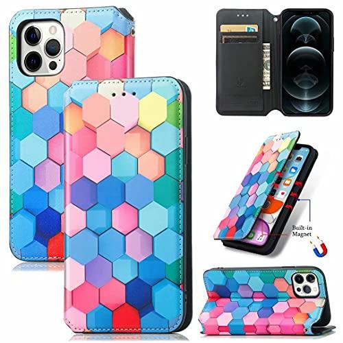 Funda para iPhone 13 Pro, a prueba de golpes 3D de piel sintética pintada con diamante con tapa y función atril, ranuras para tarjetas, cubierta protectora para iPhone 13 Pro cuadrados coloridos