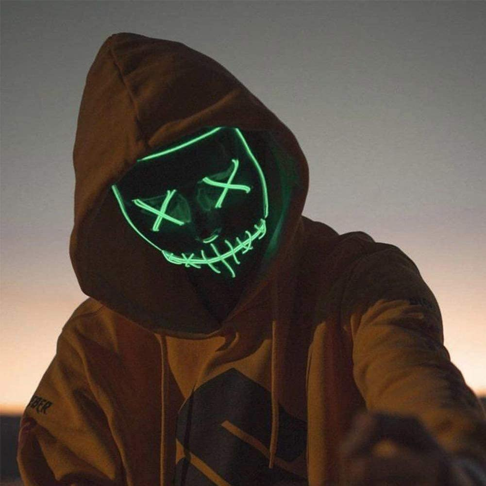 Halloween Mask LED Light Up Mask Festival Cosplay Creepy mask Glowing in The Dark mask Scary mask for Halloween Costume