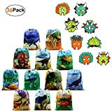 Dinosaur Party Supplies Favors Bags 12 Pack and Dino Masks 24 Pack Party Accessories for Kids Boys Girls Jurassic World Birthday