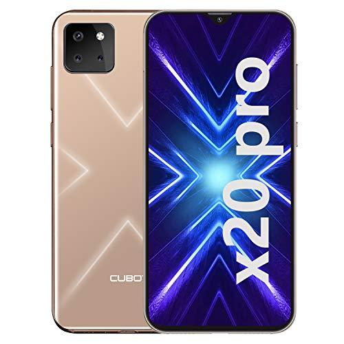 CUBOT X20 Pro Smartphone ohne Vertrag, 4G LTE 6,3 Zoll Smartphone, 6GB RAM+128GB ROM, 4000mAh Akku, 20MP/12MP/8MP + 13MP Kamera, Dual SIM Handy Android 9.0, Face ID(Gold)
