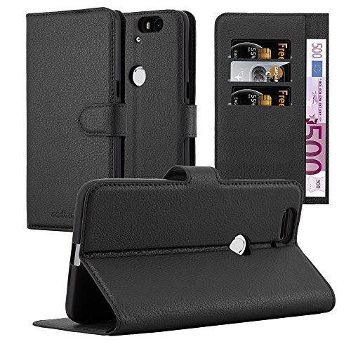 Cadorabo Hülle für Huawei Nexus 6P - Hülle in Phantom SCHWARZ – Handyhülle mit Kartenfach & Standfunktion - Case Cover Schutzhülle Etui Tasche Book Klapp Style